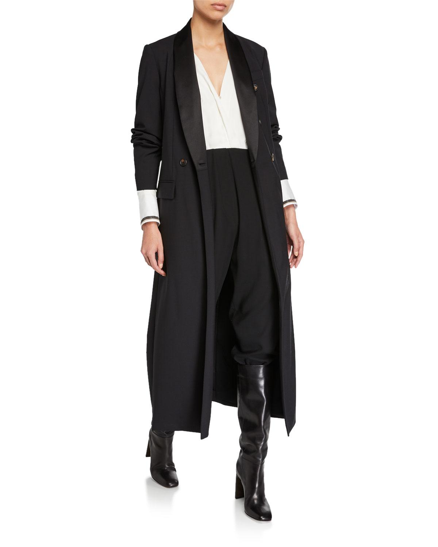 Brunello Cucinelli Coats SATIN-LAPEL DOUBLE-BREASTED LONG COAT
