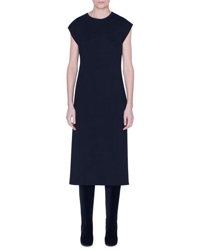 Cashmere-Silk Midi Dress w/ Slit