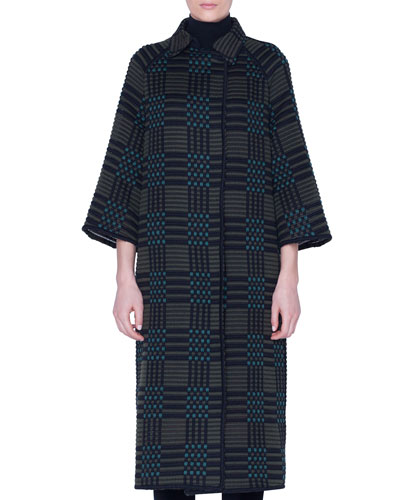 Check-Embroidered Long Coat