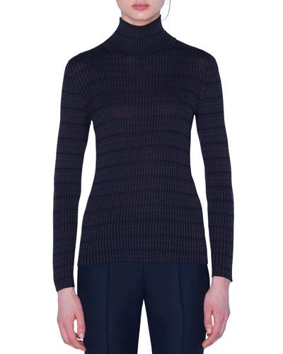Checked Silk Turtleneck Sweater