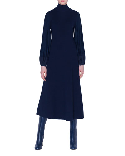 Knit Blouson-Sleeve Midi Dress