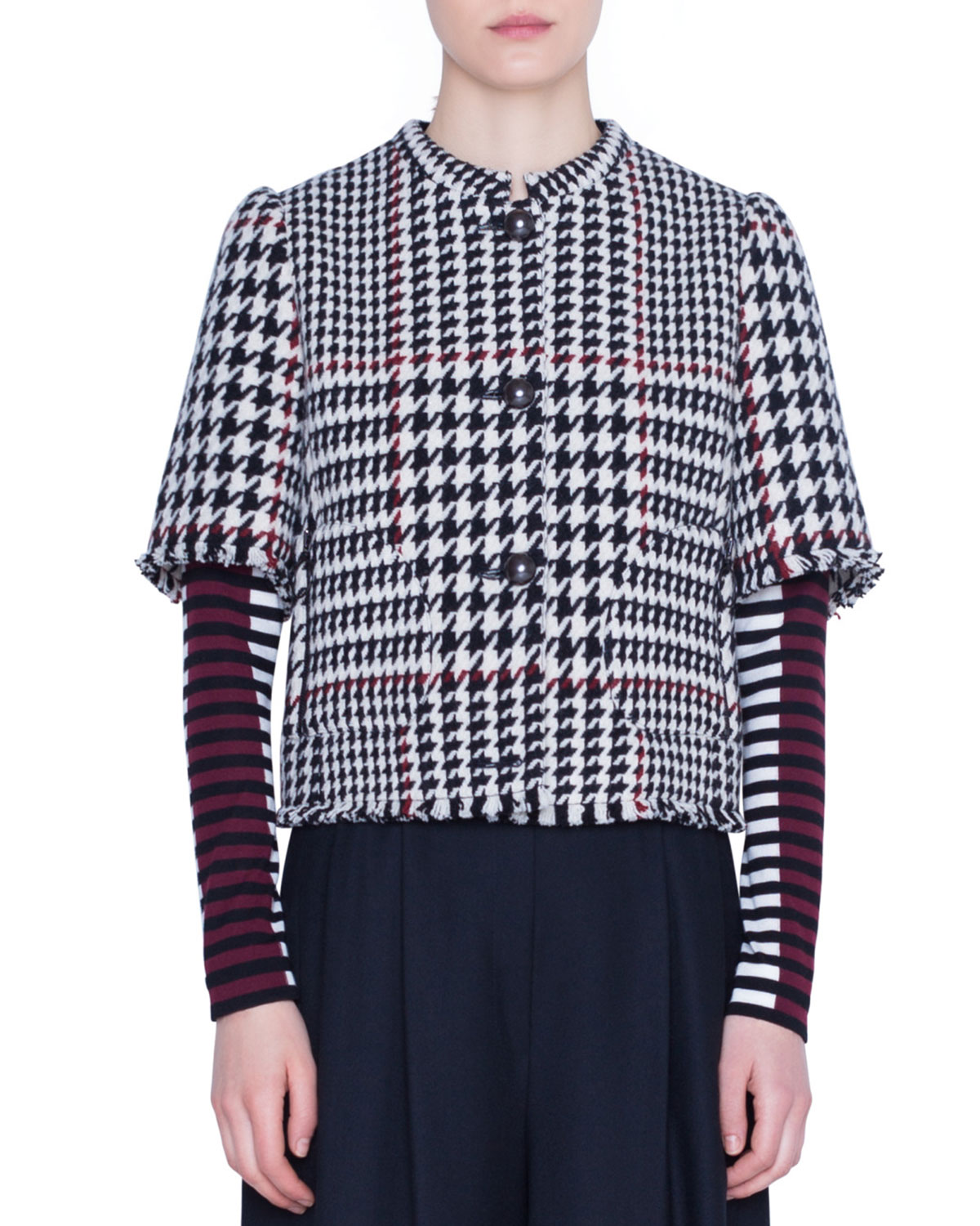 Akris Punto Jackets 1/2-SLEEVE GLEN-CHECK SNAP-FRONT JACKET