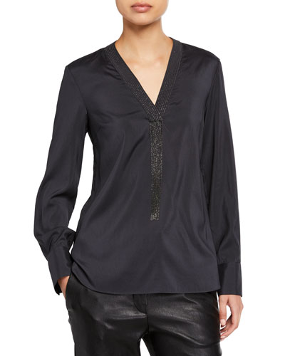 Monili-Fringe Silk V-Neck Blouse