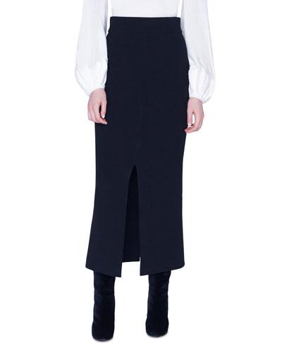 Double Face Wool Midi Skirt