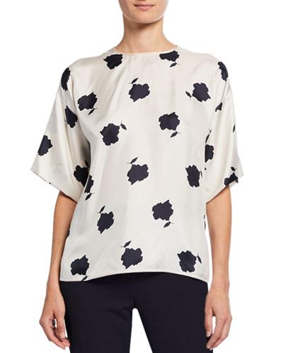 Balenio Floral-Print Short-Sleeve Silk Blouse