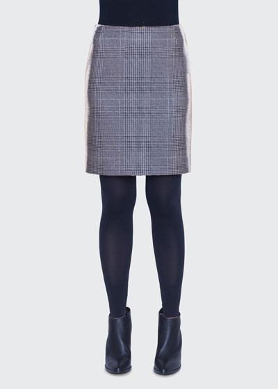 Metallic Glen-Check Pencil Mini Skirt