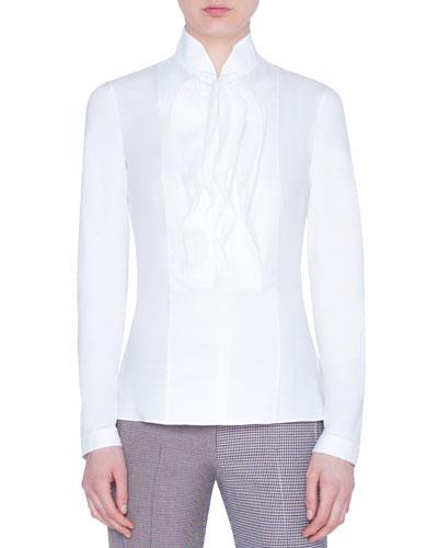 Mandarin-Collar Cotton Jersey Blouse
