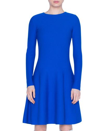 Long-Sleeve A-Line Wool Dress