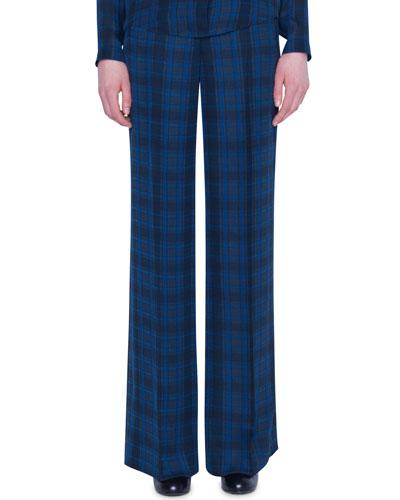Plaid Silk High-Rise Flare Pants