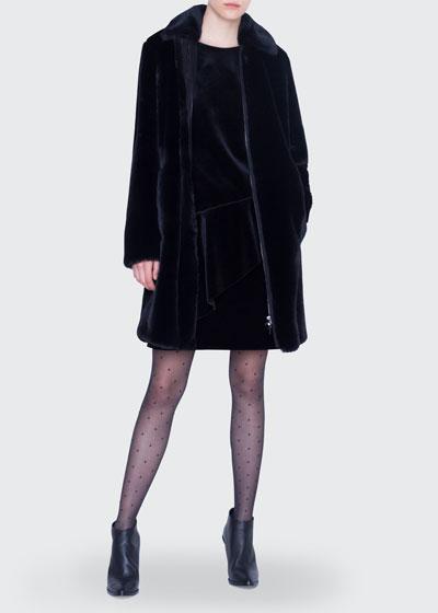 Knee Length Faux-Fur Zip-Front Coat