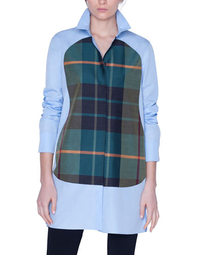 Plaid-Panel Button-Front Shirt