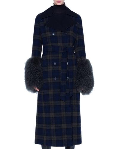 Quilted Lamb-Cuff Plaid Coat