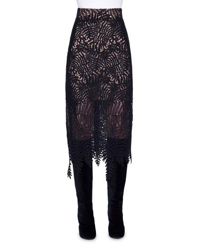 Leaf Lace Midi Skirt