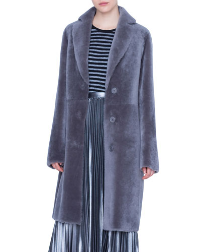 Lamb Fur Lapel Coat