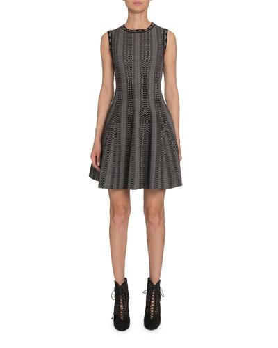 Dot-Print Fit-&-Flare Dress