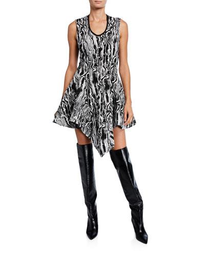 Marble-Print Jersey Handkerchief Dress