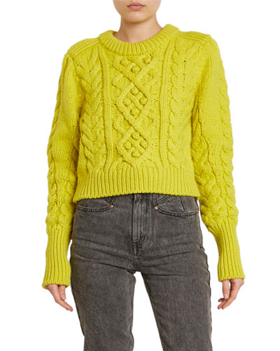 Cable-Knit Wool Crop Sweater