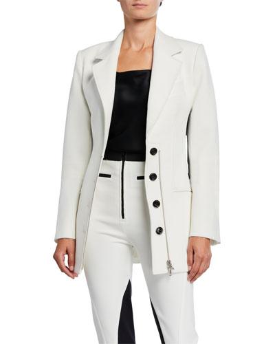 Corset-Waist Zip-Front Blazer Jacket