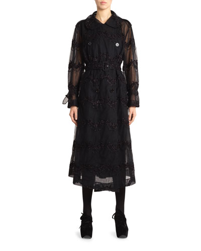 Beaded-Tulle Double-Breasted Trench Coat