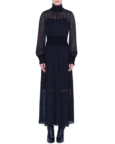 Dotted-Lace Illusion Maxi Dress