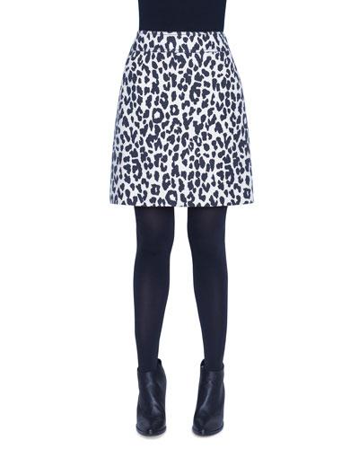 Leopard Print Heavy Wool Crepe Mini Skirt