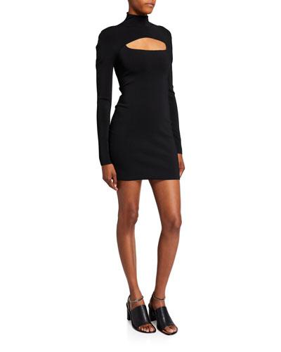 Jersey High-Neck Cutout Mini Dress