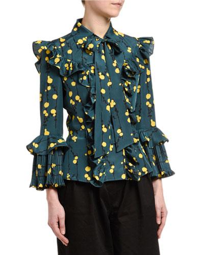 Floral-Print Ruffle-Trim Fancy Top