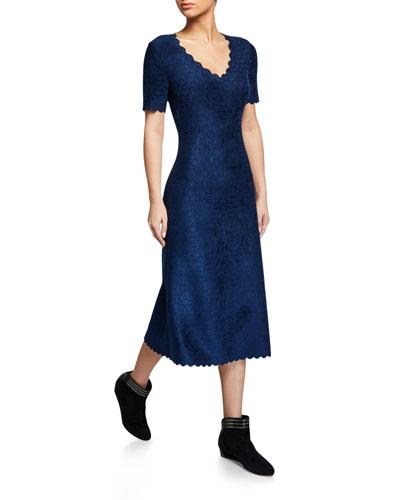 Velvet Embossed Scalloped Dress