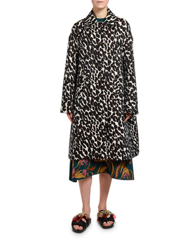 Animal-Print Boxy Coat