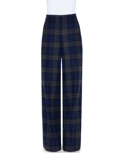 Plaid Wool Wide-Leg Pants