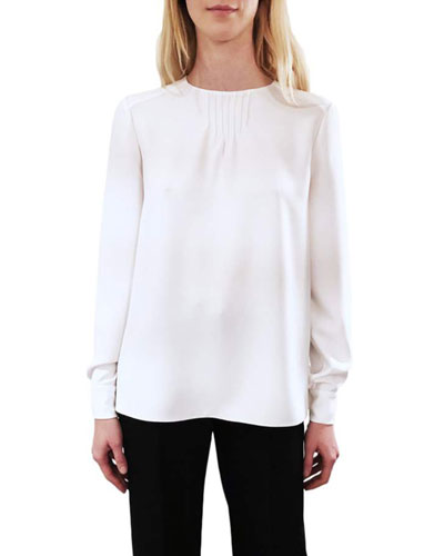 Georgette Long-Sleeve Pleated Blouse