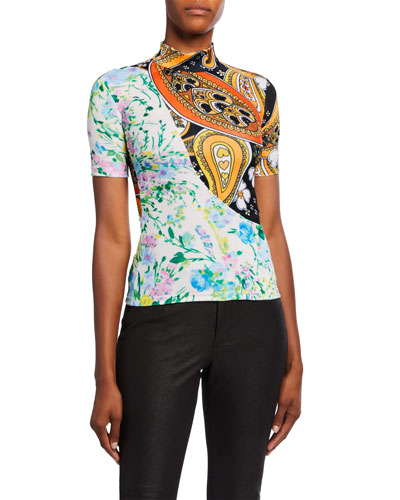 Paisley-Print Twisted Velour Top