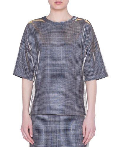 Metallic Glen-Check Jersey Shirt