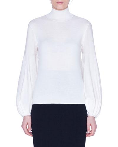 Wool-Silk Blouson-Sleeve Sweater