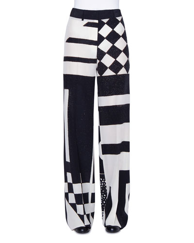 Kaleidoscopic Silk Full-Leg Pants