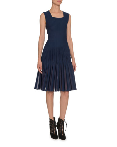 Square-Neck Pleated Bottom Dress