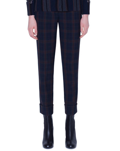 Plaid Flat-Front Cuffed Pants