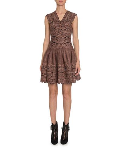 Floral Velvet-Burnout V-Neck Fit-&-Flare Dress
