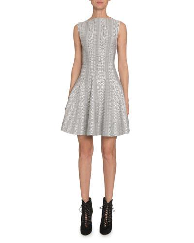 Dot-Print Boat-Neck Sleeveless Fit-&-Flare Dress