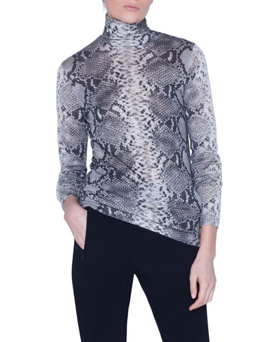 Python-Print Cashmere-Silk Jersey Turtleneck Sweater