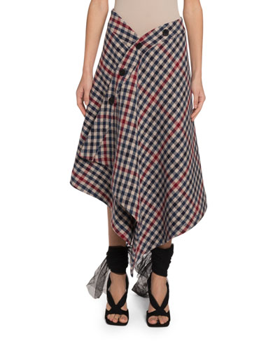 Checked-Wool Asymmetric Wrapped Blanket Skirt
