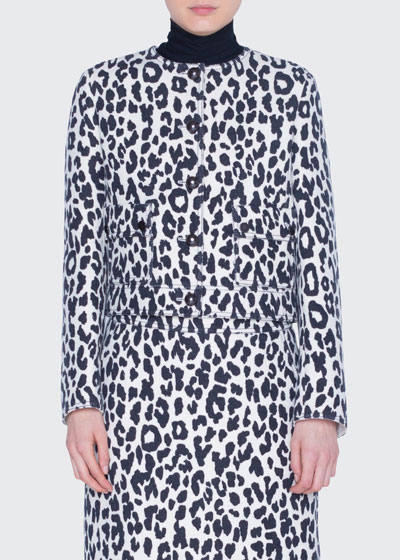Leopard-Print Heavy Wool Crepe Jacket