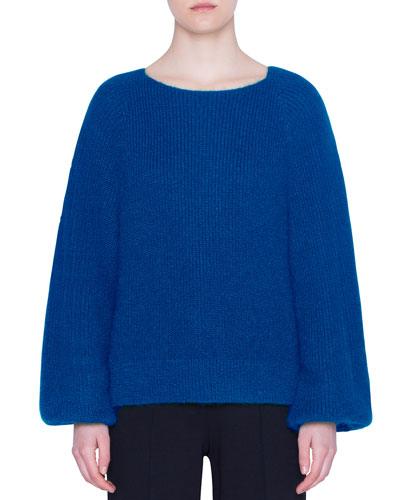Ribbed Alpaca-Knit Full-Sleeve Sweater