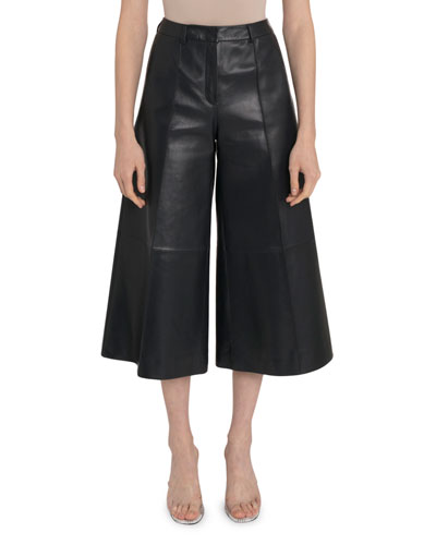 High-Rise Leather Culottes