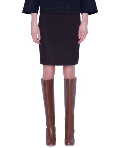 Silk Slim Knee-Length Skirt