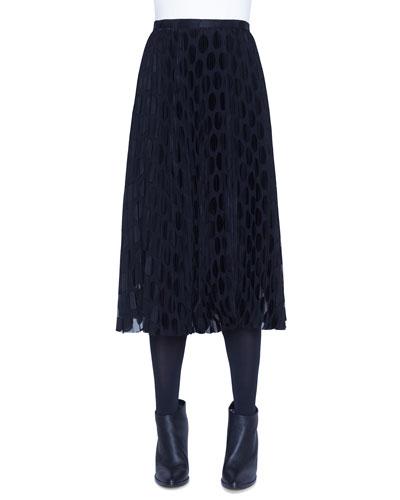Polka-Dot Devore Plisse Midi Skirt