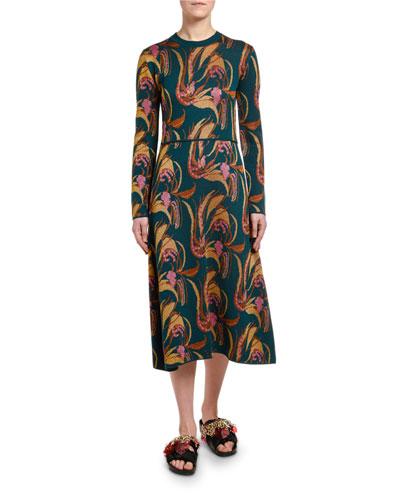 Floral-Jacquard A-line Sweater Dress