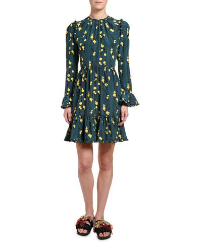 Bell-Cuff Floral Visconti Dress