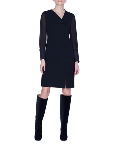 Wool Sheer-Sleeve Pleated Dress