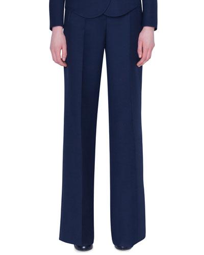 Wide-Leg Double-Face Wool Pants